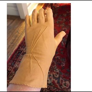 Mustard yellow rayon Day Dress Gloves Deco Design